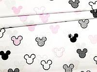 Отрез натуральной ткани польский хлопок Микки Маусы черно-розовые на белом