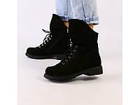 Женские демисезонные ботинки черные из нубука 36