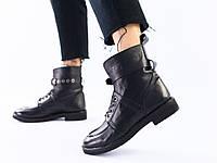 Женские демисезонные кожаные ботинки, черные со шнуровкой и пряжкой, 36