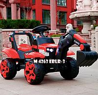 Детский электромобиль Трактор - экскаватор с подвижным ковшом и подсветкой Bambi M 4263EBLR-3 красный