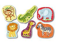 ХИТ! Набор крупных пазлов,6 шт,Дикие животные Dodo 300153,пазлы зоопарк, фото 1