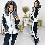 Женский спорт костюм, трехнить на флисе + плащевка MONCLER на синтепоне, р-р 42-44; 46-48; 50-52 (серебро+чёр), фото 2