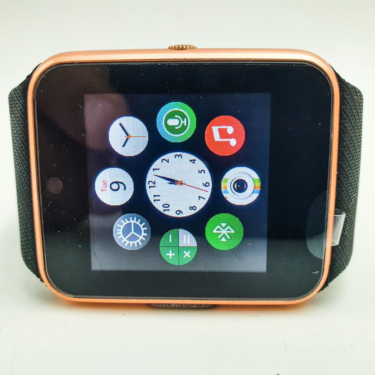 Умные смарт часы телефон камера microSD Smart Watch Phone GT08 Black золотые