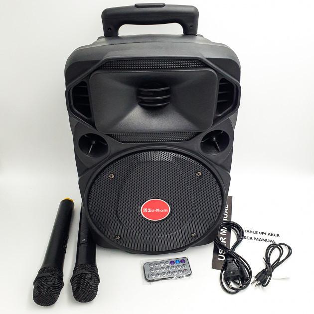"""Акустическая система с 2 радио микрофонами колонка аккумуляторная 8"""" USB FM Su-Kam BT80D 100 Вт черный"""