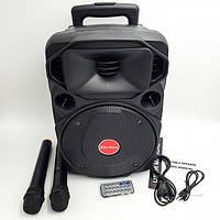"""Акустическая система с 2 радио микрофонами колонка аккумуляторная 8"""" USB FM Su-Kam BT80D 100 Вт черный, фото 1"""