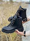 Стильные женские ботинки кожаные зимние черные U Spirit, фото 3