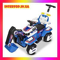 Детский электромобиль Трактор с подвижным ковшом , подсветкой и родительской ручкой Bambi M 4321LR-4-1 синий