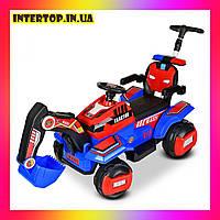 Детский электромобиль Трактор с подвижным ковшом , подсветкой и родительской ручкой Bambi M 4321LR-4 красный