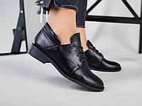 Женские кожаные туфли на низком ходу черные 36
