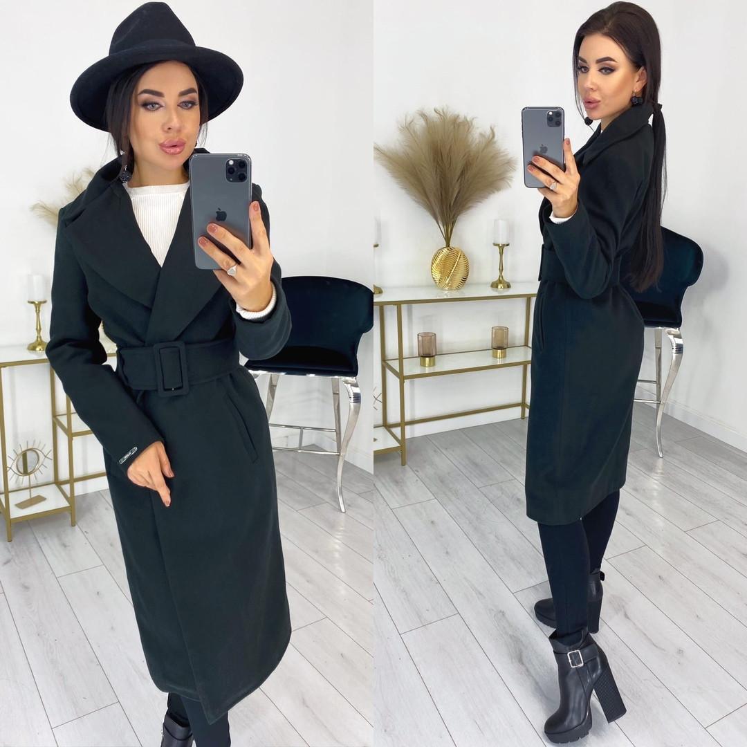 Женское пальто, кашемир, р-р С-М; Л-ХЛ (чёрный)