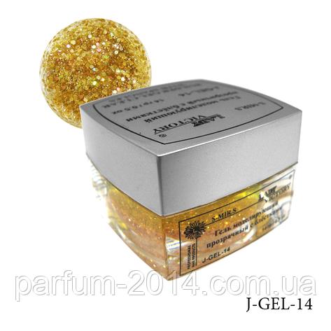 Гель цветной с блестками Lady Victory J-GEL-14 - 14 г (Темно золотой), , фото 2