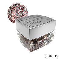 Гель цветной с блестками Lady Victory J-GEL-15 - 14 г (Красный),