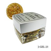 Гель цветной с блестками Lady Victory J-GEL-23 - 14 г (Желтый голографический),