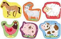 ХИТ! Набор крупных пазлов,6 шт,Домашние животные Dodo 300152,пазлы ферма, фото 1