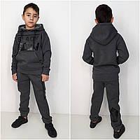 Теплый спортивный костюм  BLACK   90% хлопок антрацит 134