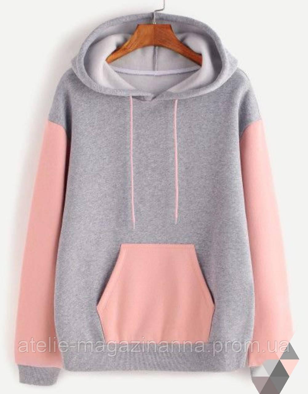 Худі для дівчинки тепла з каптуром сіра з рожевим