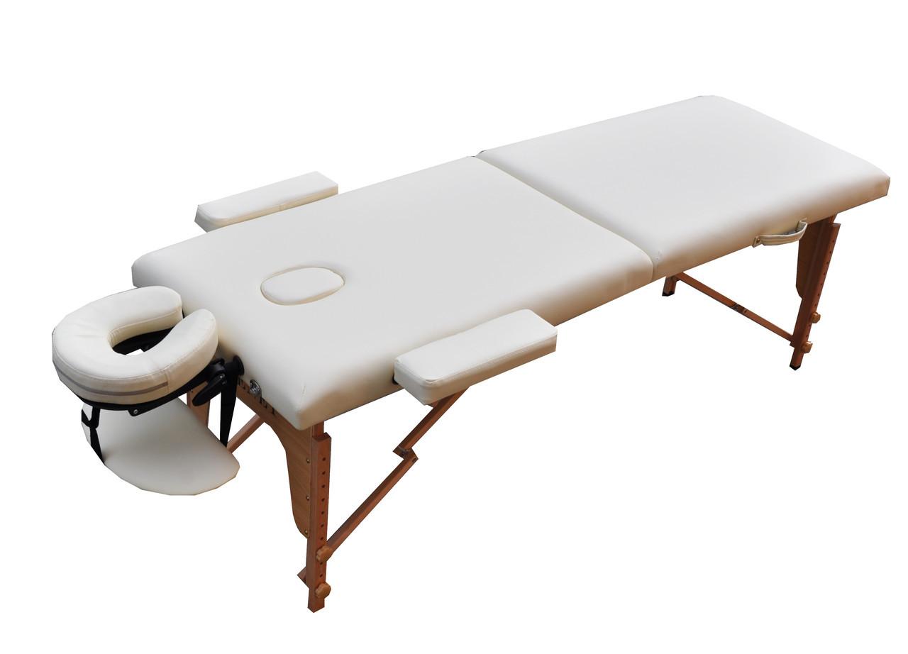 Массажный стол мобильный. Кремовый, размер М (185*70*61). ZENET ZET-1042