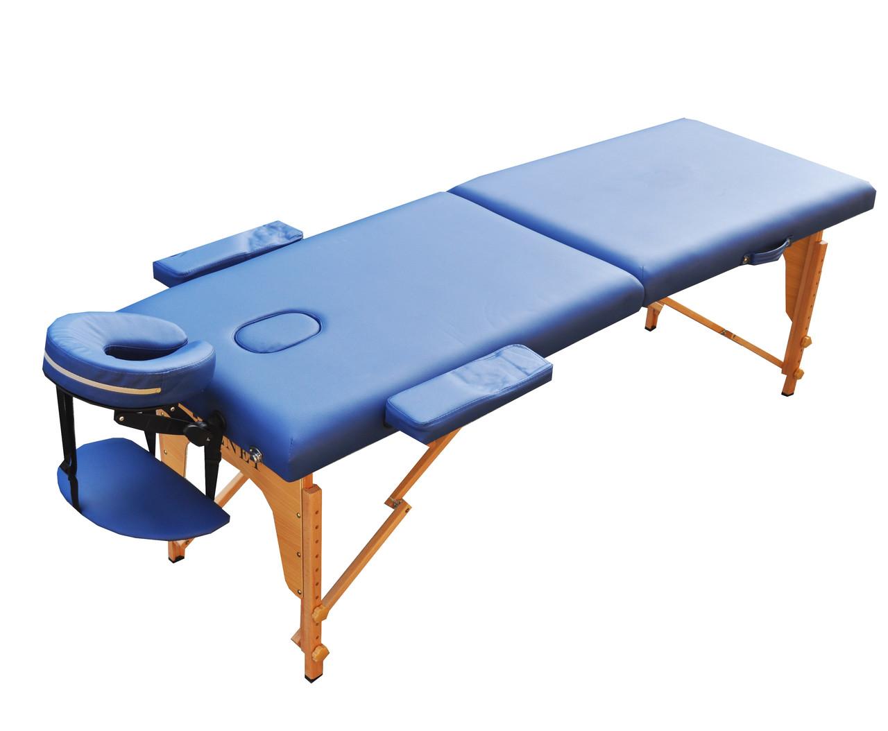 Массажный стол с вырезом под лицо. Синий, размер S (180*60*61). ZENET ZET-1042