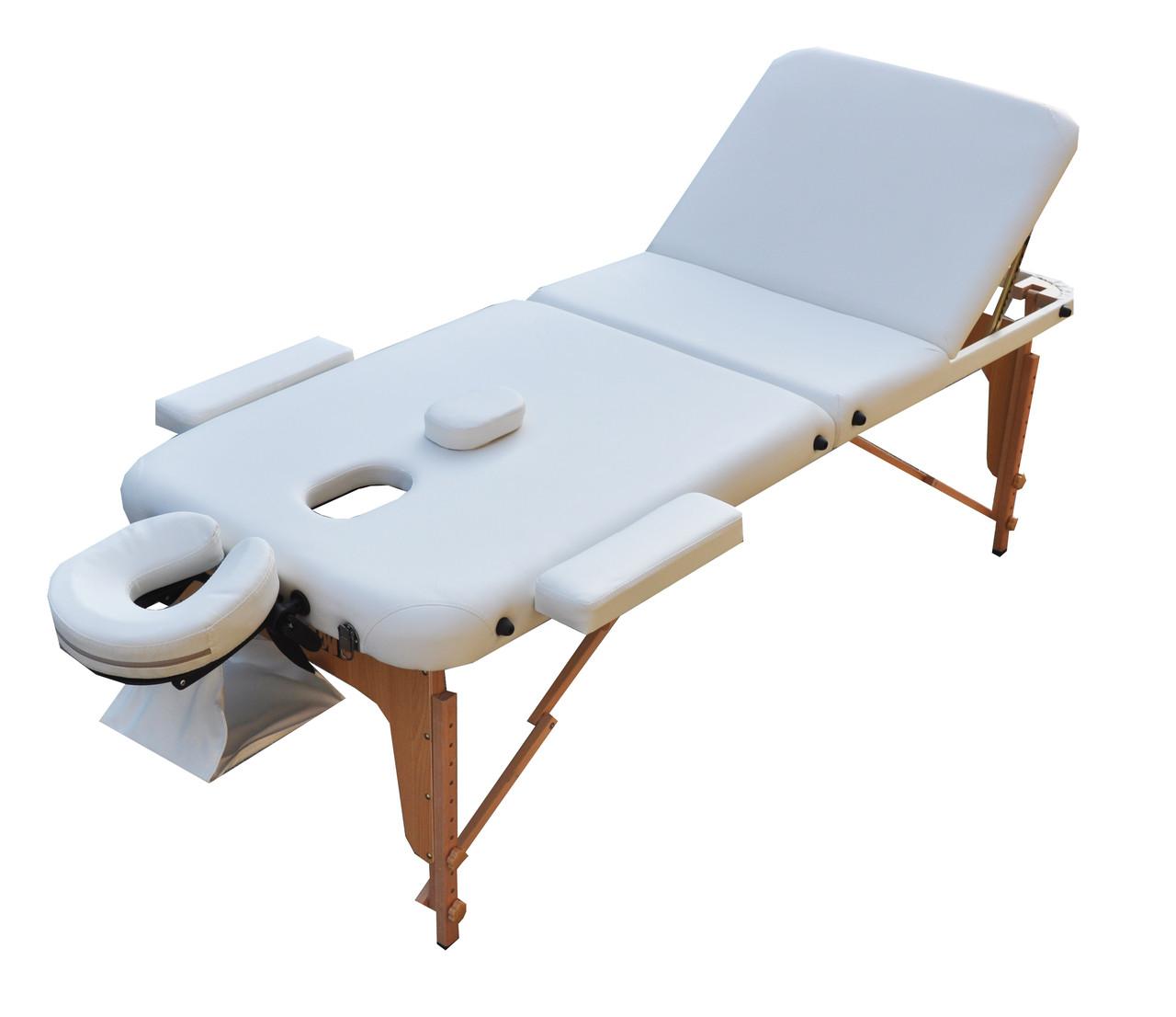 Массажный стол трехсекционный. Белый, размер М (185*70*61).  ZENET ZET-1047