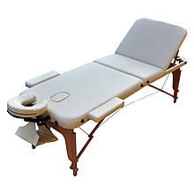 Массажный стол деревянный складной. Кремовый, размер М (185*70*61). ZENET ZET-1047