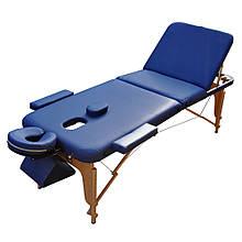 Массажный стол деревянный. Синий, размер L (195*70*61). ZENET ZET-1047