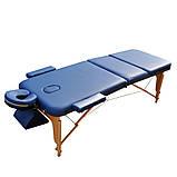 Массажный стол деревянный. Синий, размер L (195*70*61). ZENET ZET-1047, фото 2