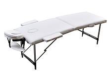 Массажный стол алюминиевый двухсекционный. Белый, размер S ( 180*60*61). ZENET ZET-1044