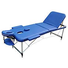Массажный стол с вырезом для лица. Темно синий, размер L ( 195*70*61). ZENET ZET-1049