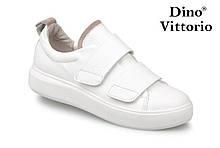 Білі жіночі кріпери, кросівки натуральна шкіра на липучках Dino Vittorio
