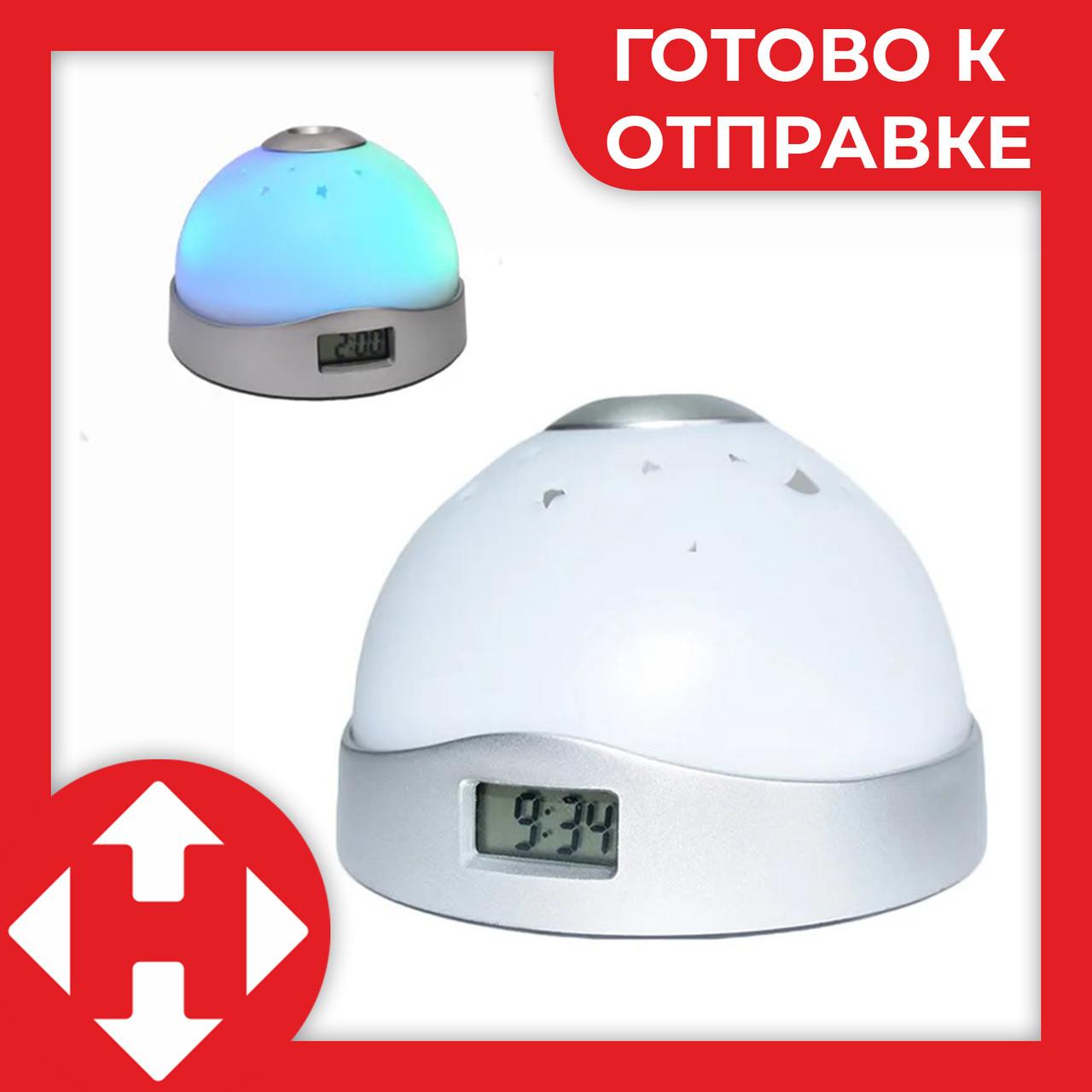 Распродажа! Проекционные часы-светильник с проекцией времени на потолок, часы-проектор, белые (9.5 см диаметр)
