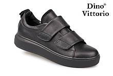 Черные женские криперы, кеды натуральная кожа на липучках Dino Vittorio