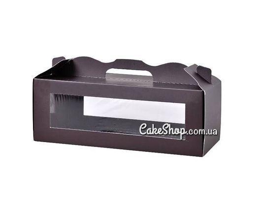 Коробка для десертов с прозрачным окном Черная 30*15*11