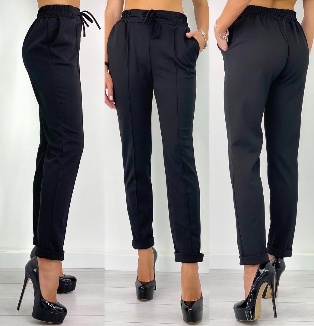 Женские брюки, креп - диагональ, р-р С-М; Л-ХЛ (чёрный)