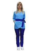 Медицинский костюм Токио голубой с синим-электрик (на запах)