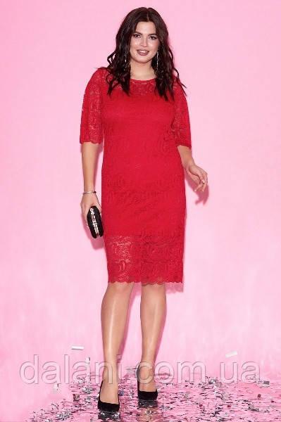 Вечернее красное гипюровое платье приталенное батал