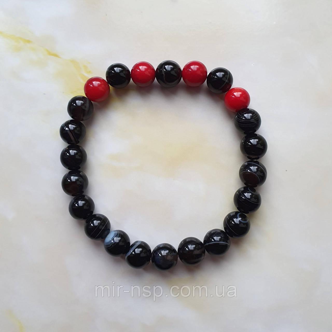 Браслет натуральные черный агат и красный коралл 8 мм вес 18г