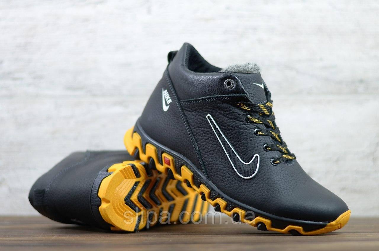 Чоловічі шкіряні зимові кросівки Nike чорні з жовтою підошвою