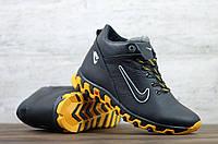 Чоловічі шкіряні зимові кросівки Nike чорні з жовтою підошвою, фото 1