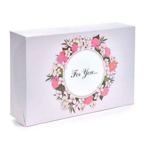 """Коробка для эклеров, зефира, печенья """"For you"""" розовая, 225*150*60"""