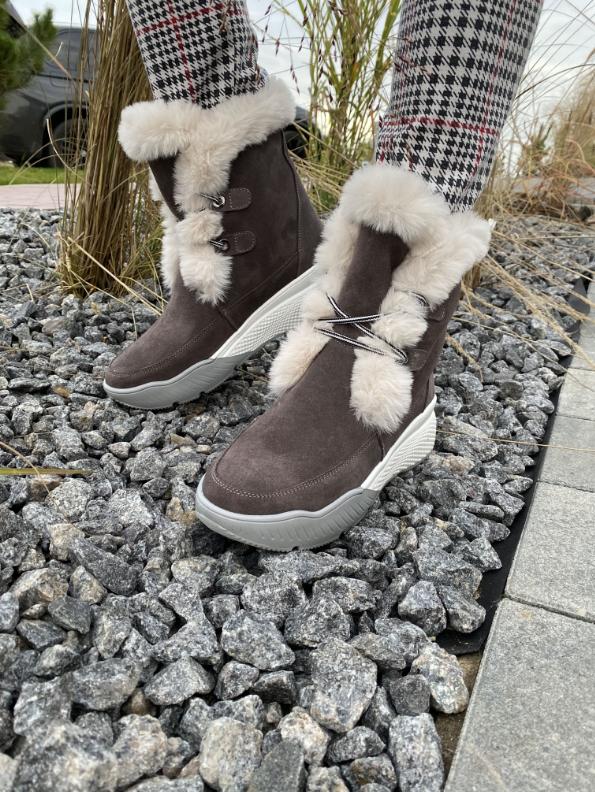 Ботинки женски зимние замшевые бежевые U Spirit