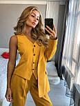 Женский брючный классический костюм-тройка: пиджак, жилет и брюки (в расцветках), фото 4