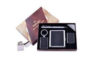 Подарочный набор 4в1 Moongrass Портсигар/Зажигалка/Ручка/Брелок №AL-204B