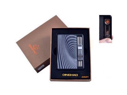 """Портсигар + USB зажигалка с выбросом сигарет """"Абстракция"""" (На 10 сигарет, Спираль накаливания) №4844-1"""