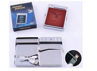 Портсигар+USB зажигалка на 20 сигарет (Спираль накаливания) №4978-5