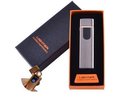 USB зажигалка в подарочной упаковке Lighter (Спираль накаливания)№HL-48 Black