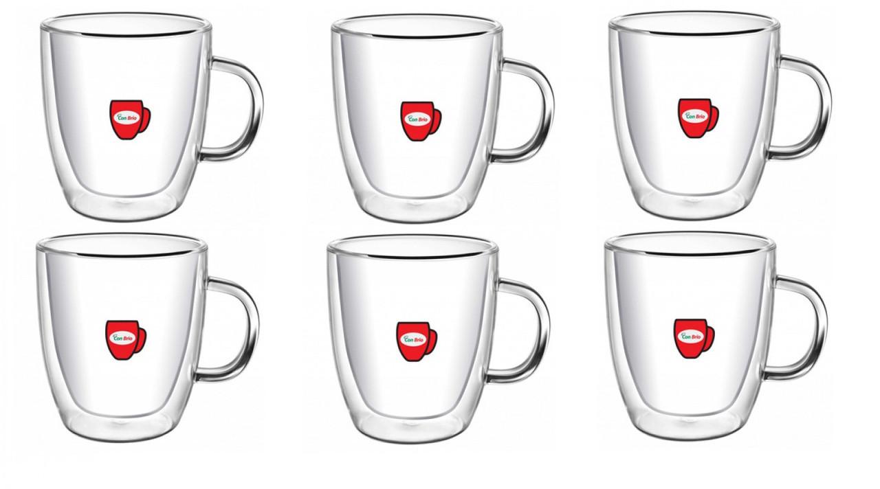 Набор чашек с двойными стенками Con Brio 350 мл упаковка 6 шт (СВ-8435)