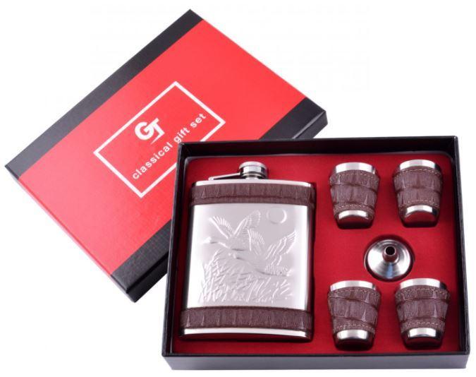 Подарочный набор с флягой Утки (Кожа) №GT-19-16