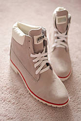 Женские ботинки экозамша серые Тимберленды зимние 36-40