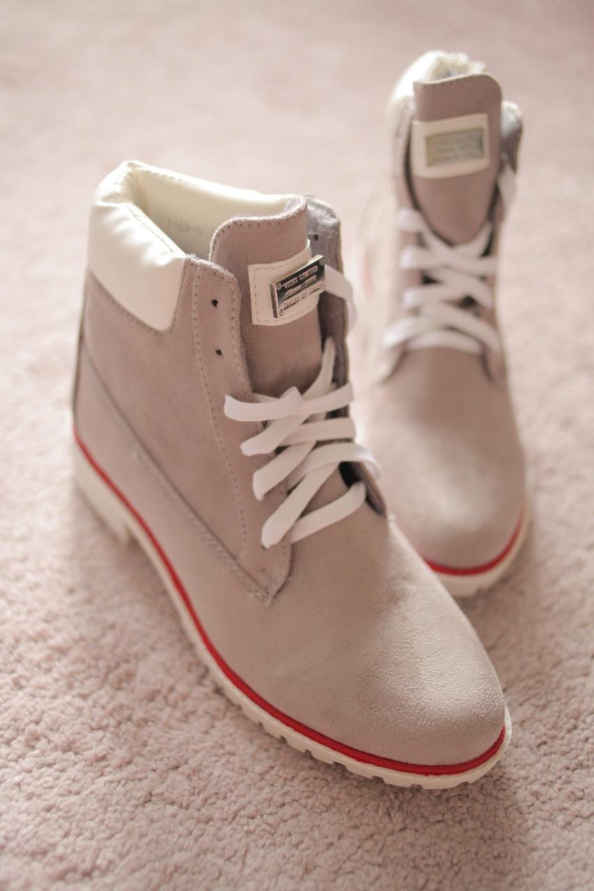 Жіночі черевики экозамша сірі Тімберленди зимові 36-40