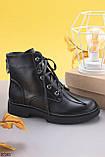Женские ботинки ДЕМИ/ осень черные на шнуровке эко кожа, фото 2